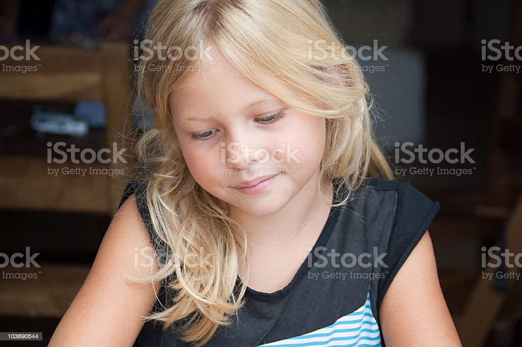Blond girl front view royalty-free stock photo