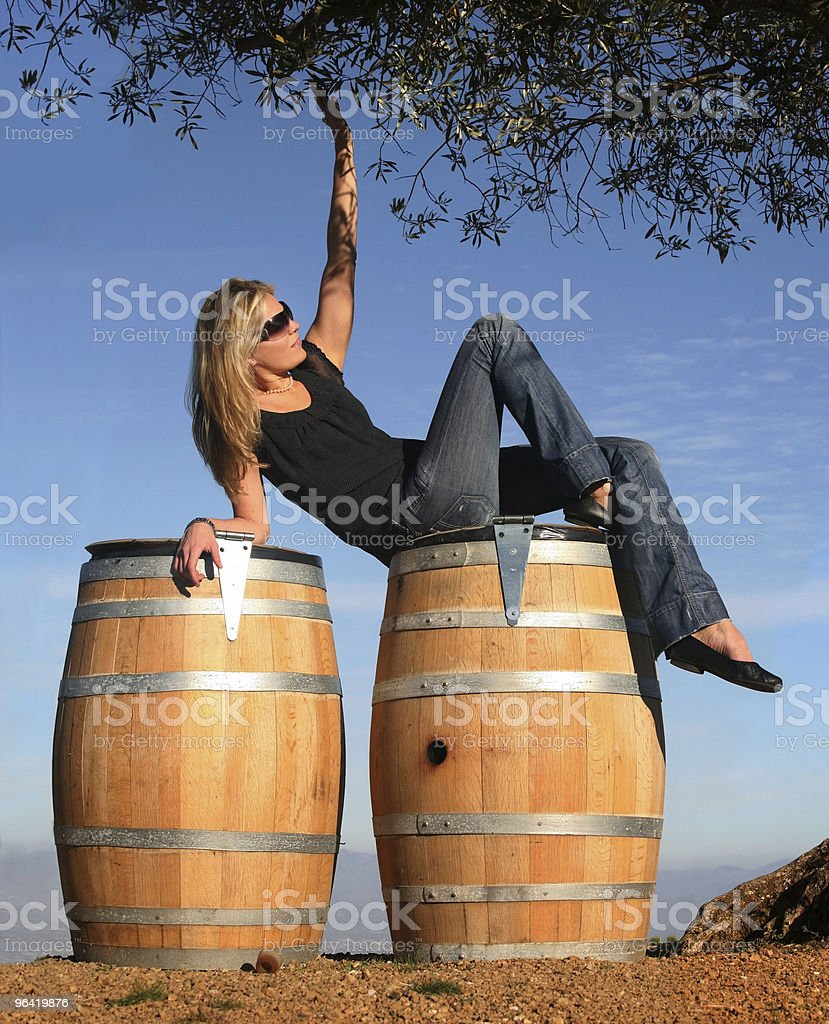 Blond girl in a wine country royalty-free stock photo