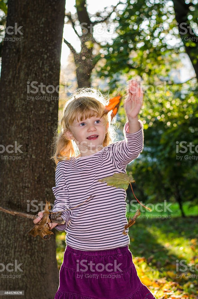 blond girl in forrest stock photo