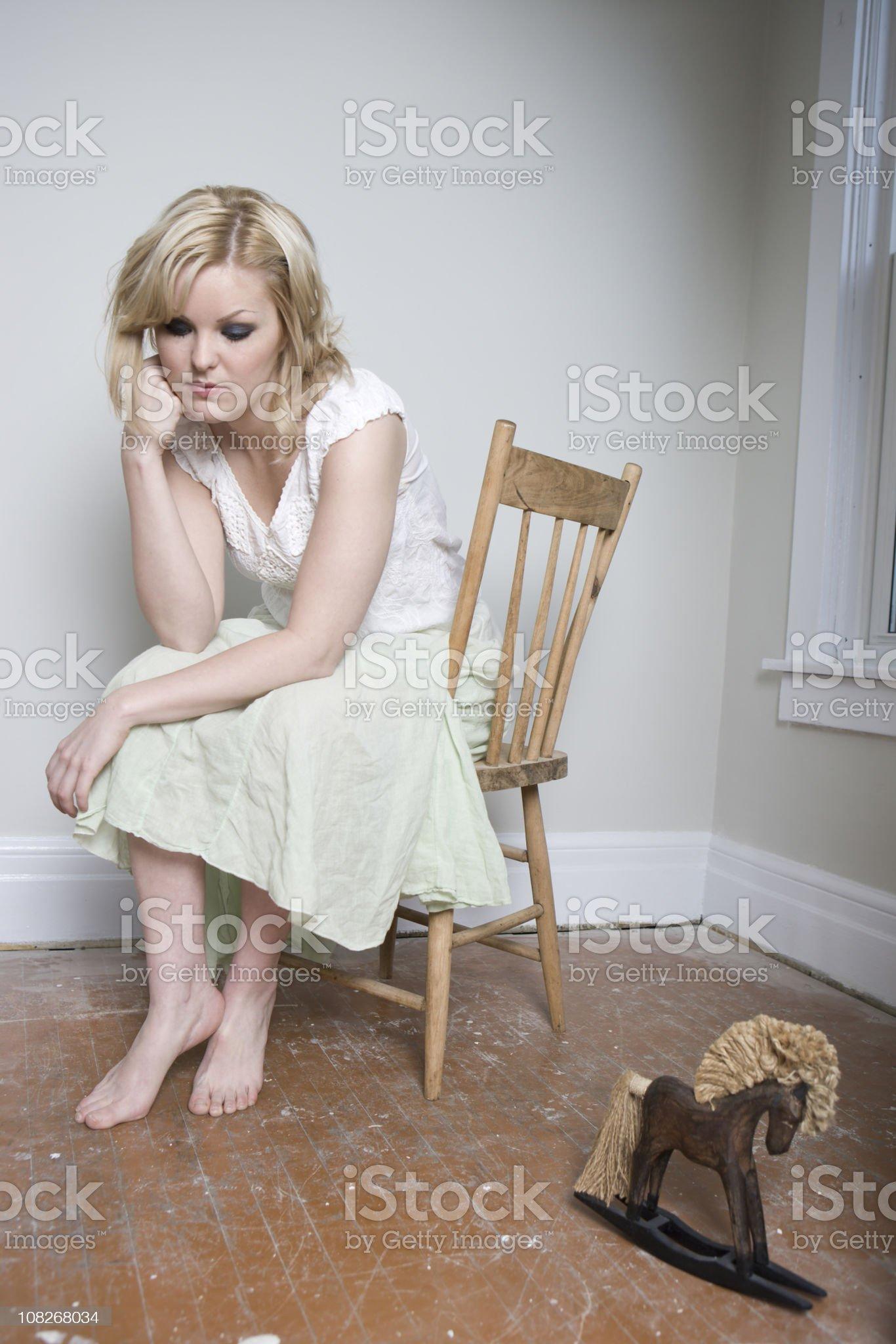 Blond Girl Looking Sad royalty-free stock photo