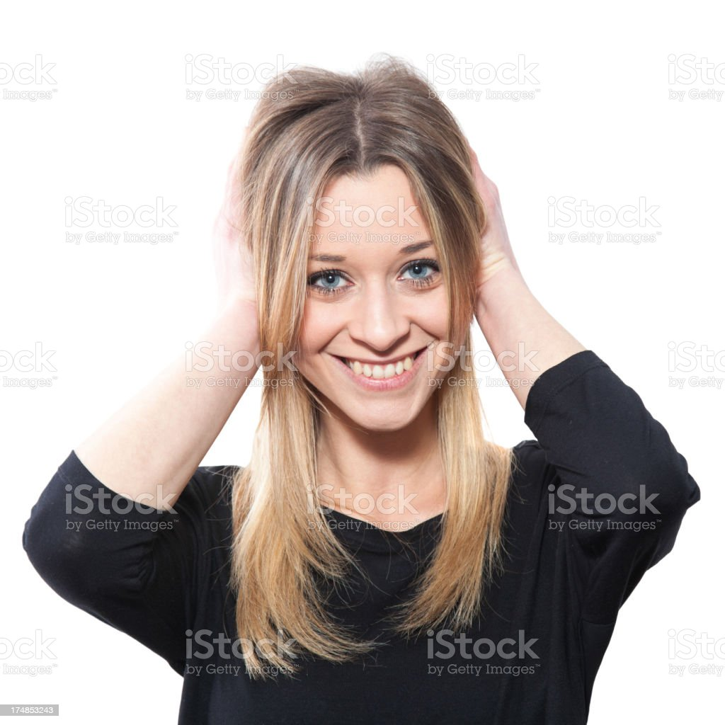 Blond girl making a face, confusion royalty-free stock photo