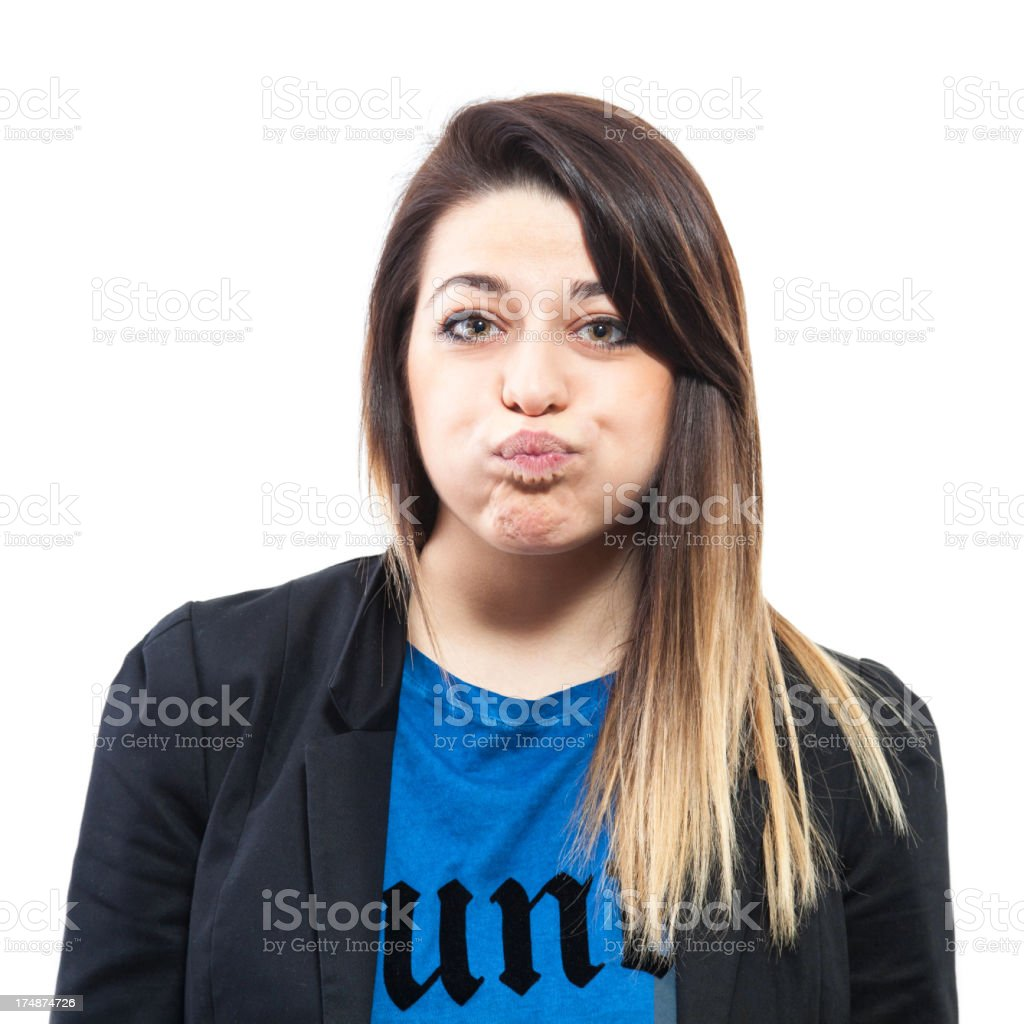 Blond girl making a face, snorting royalty-free stock photo