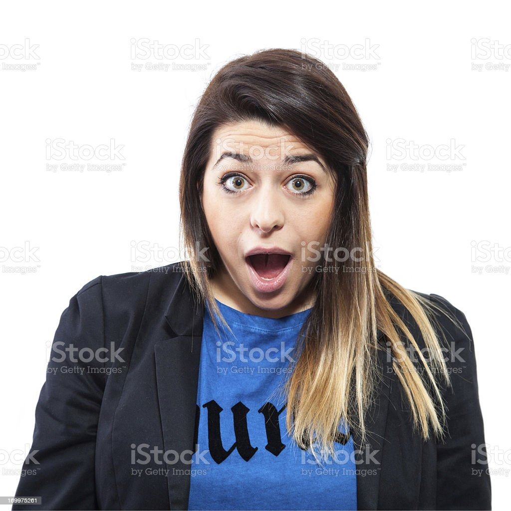 Blond girl making a face, surprised royalty-free stock photo