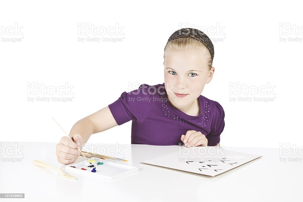 Blond Girl Painting a Picture royalty-free stock photo