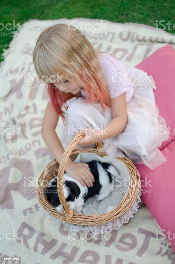 blond girl sitting on the cover with here black and white pet stock photo