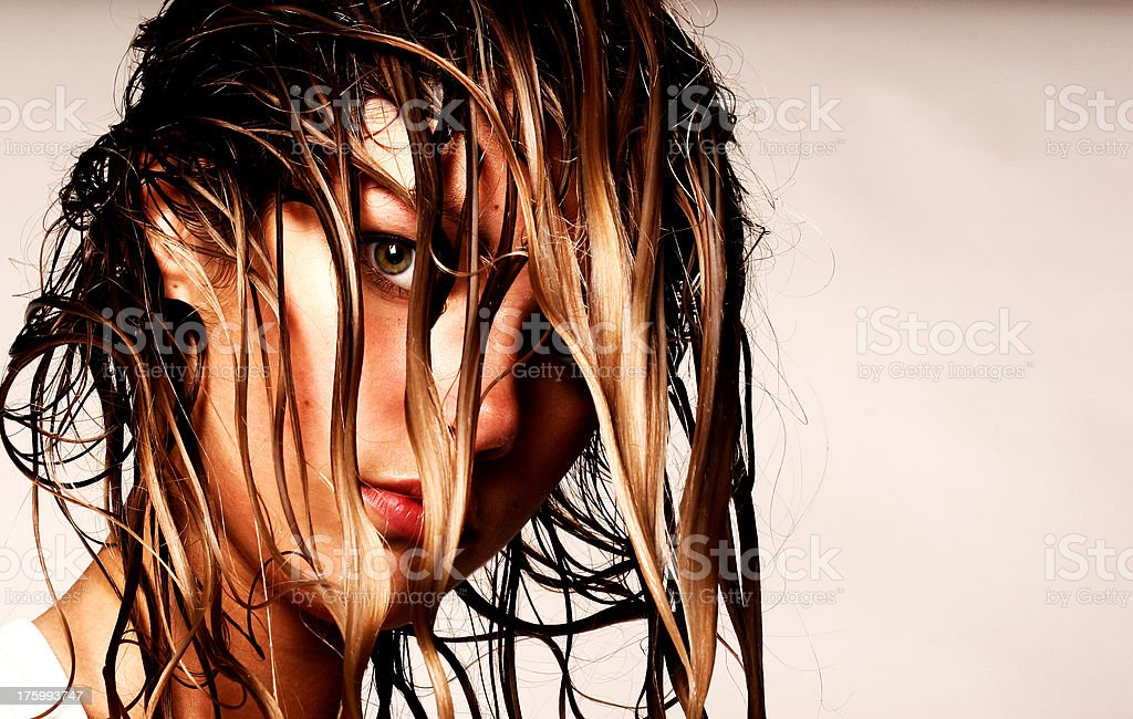 blond girl wet look stock photo