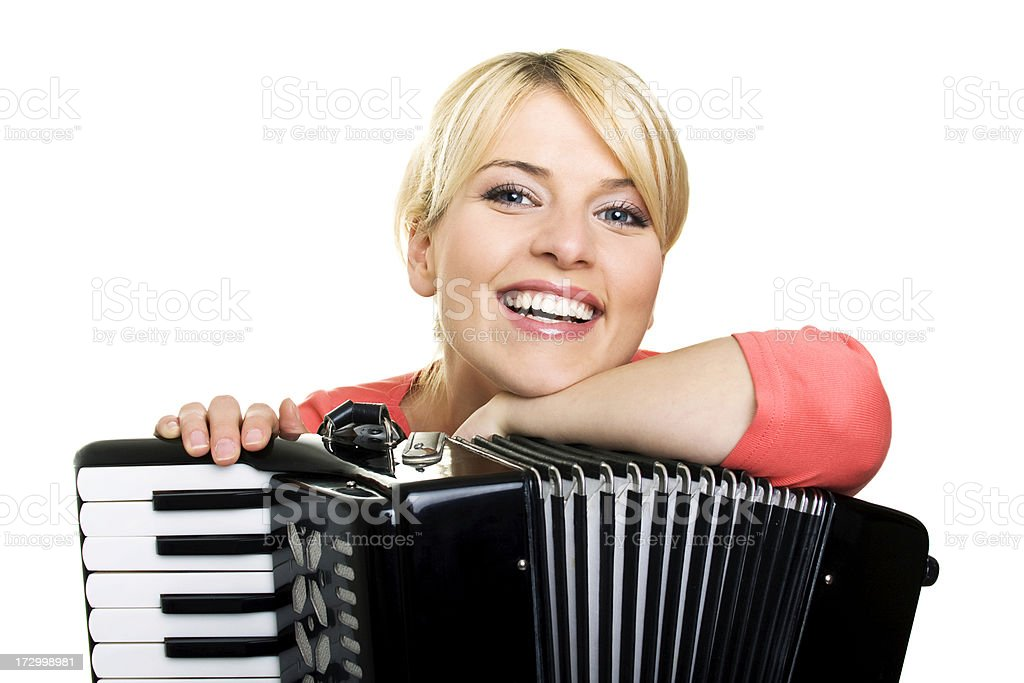 Blond girl with an accordion stock photo