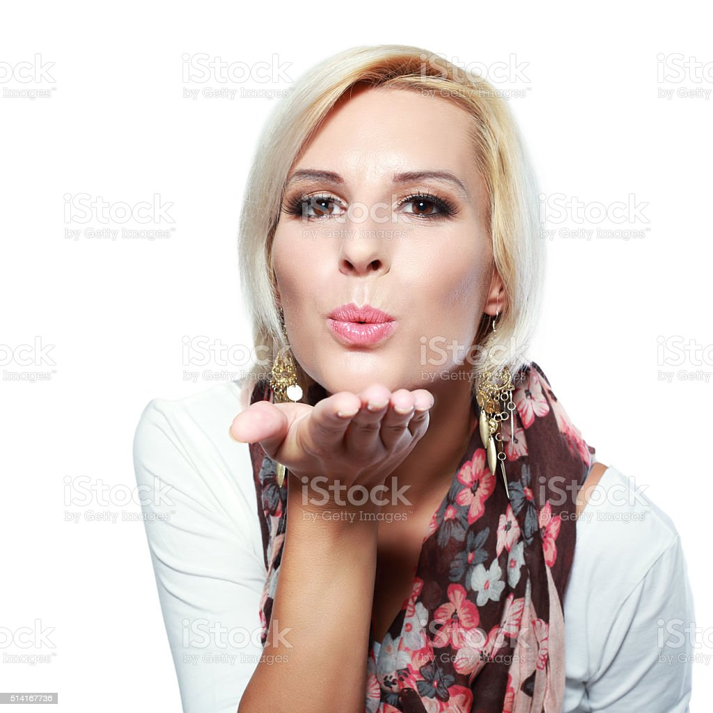 blond girl with short hair stock photo
