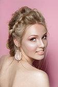 blond hair beauty woman smile cute tender portrait