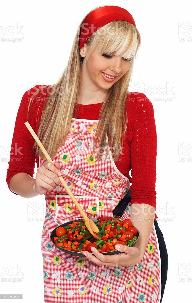 Blond hair housewife preparing lunch isolated on white background royalty-free stock photo