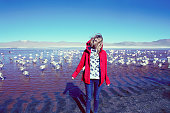 blond hair young woman near baby Pink Flamingoes in Bolivia