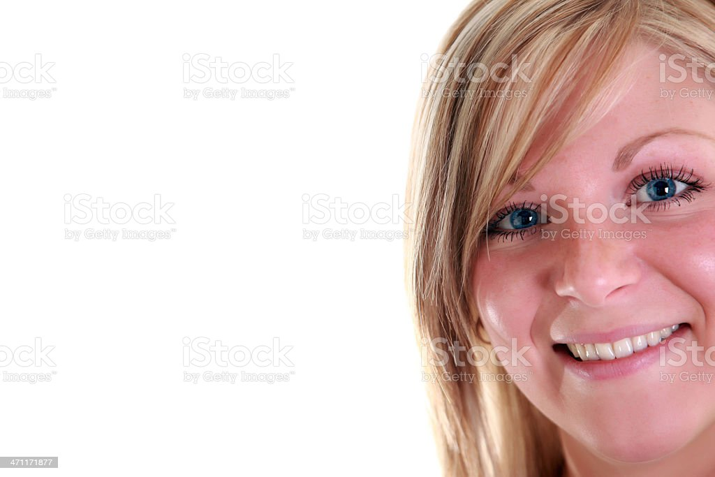 Blond Hair Young Women Isolated on White Background royalty-free stock photo