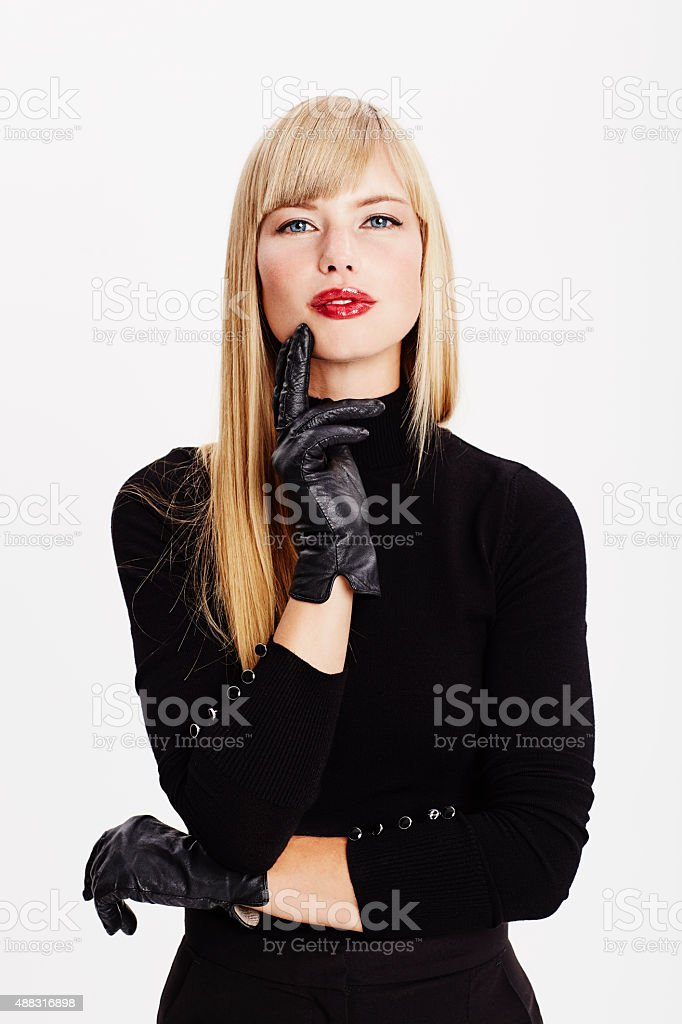 Blond in black on white stock photo
