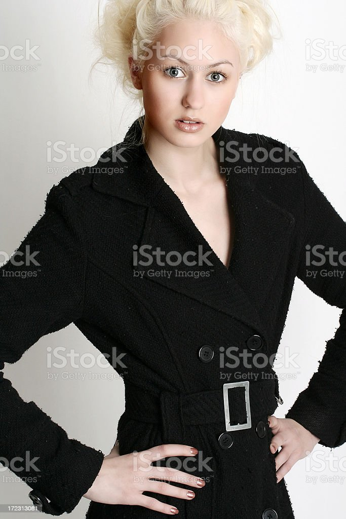 Blond in black royalty-free stock photo
