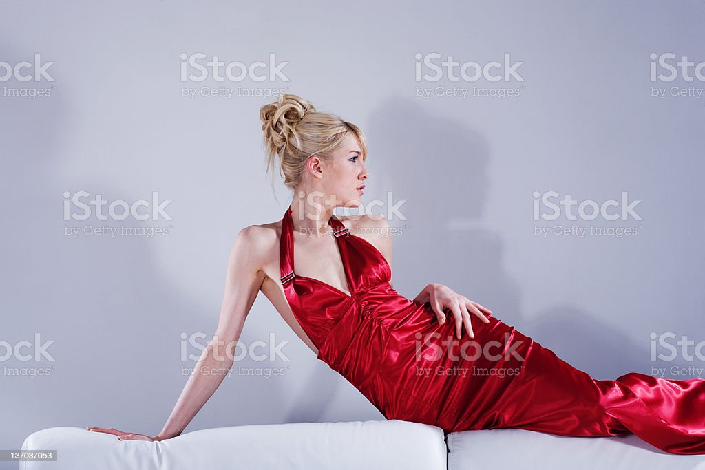 blond in red royalty-free stock photo