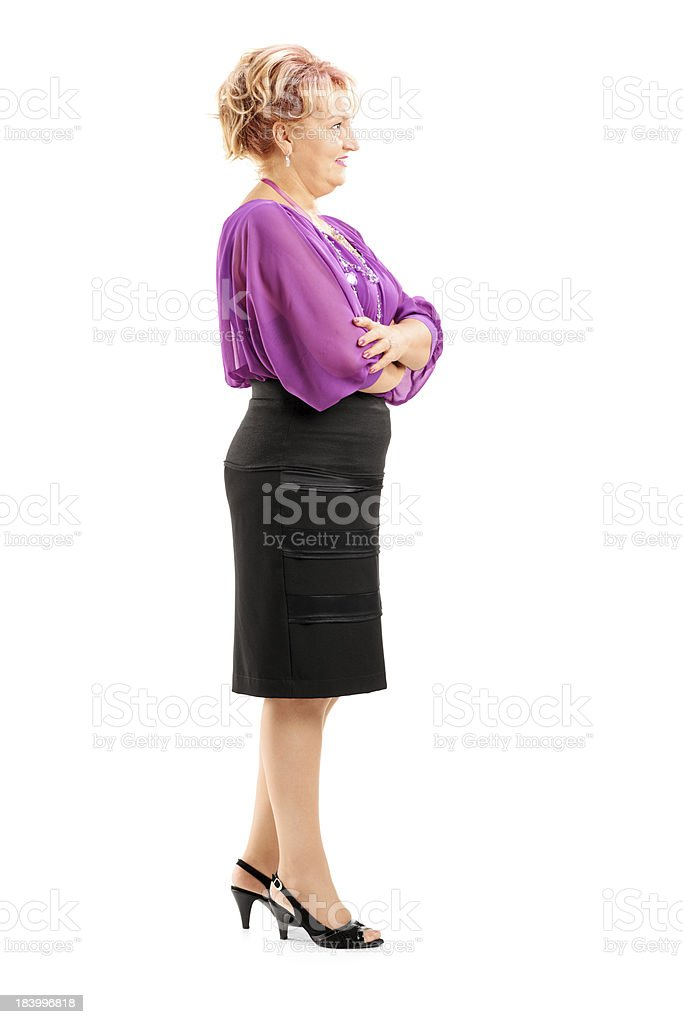Blond mature woman waiting in line royalty-free stock photo