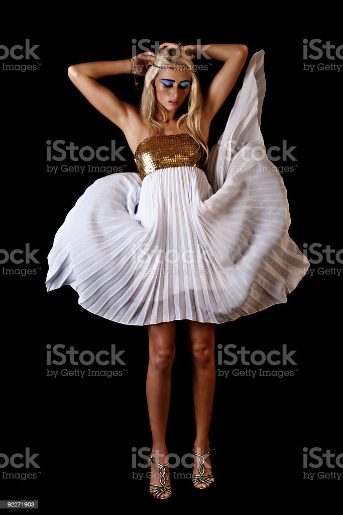 Blond model in Cleopatra costume stock photo