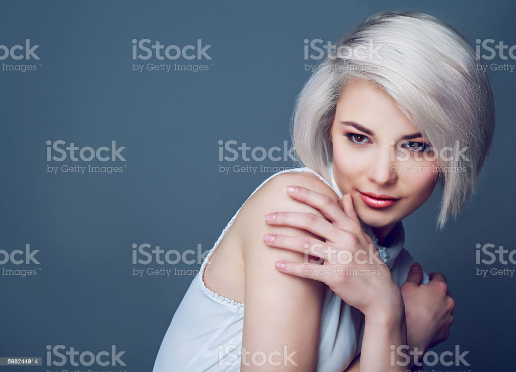 blond model with brown eyes stock photo