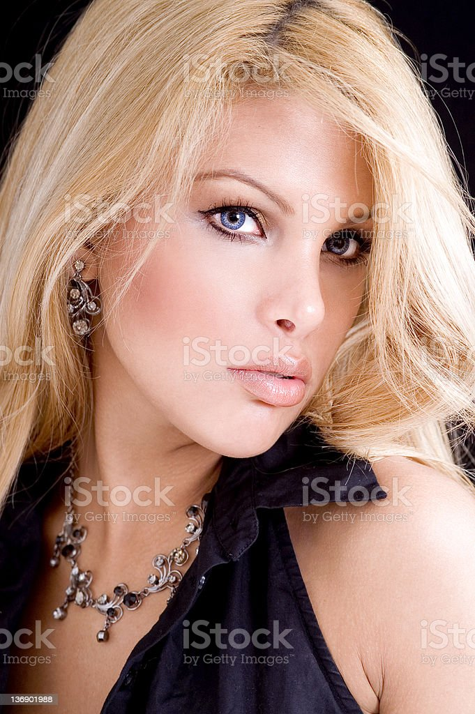 Blond On Black royalty-free stock photo