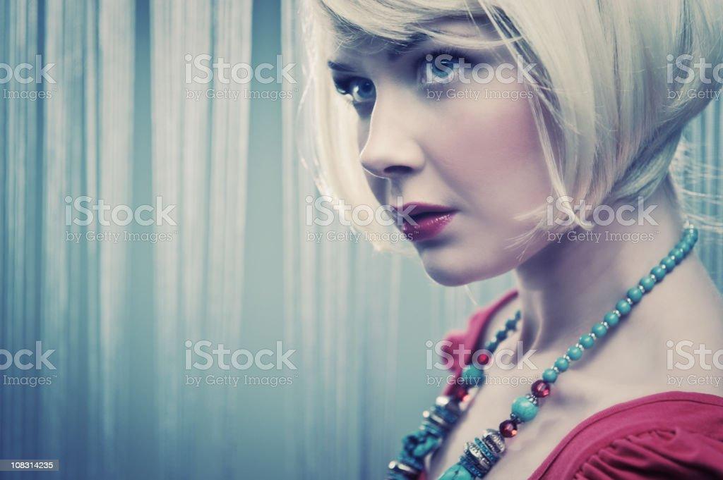 Blond pensive woman royalty-free stock photo