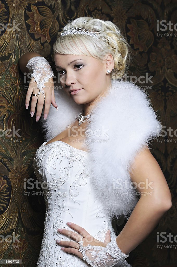 Blond Russian Woman Elegant Bride Outfit royalty-free stock photo