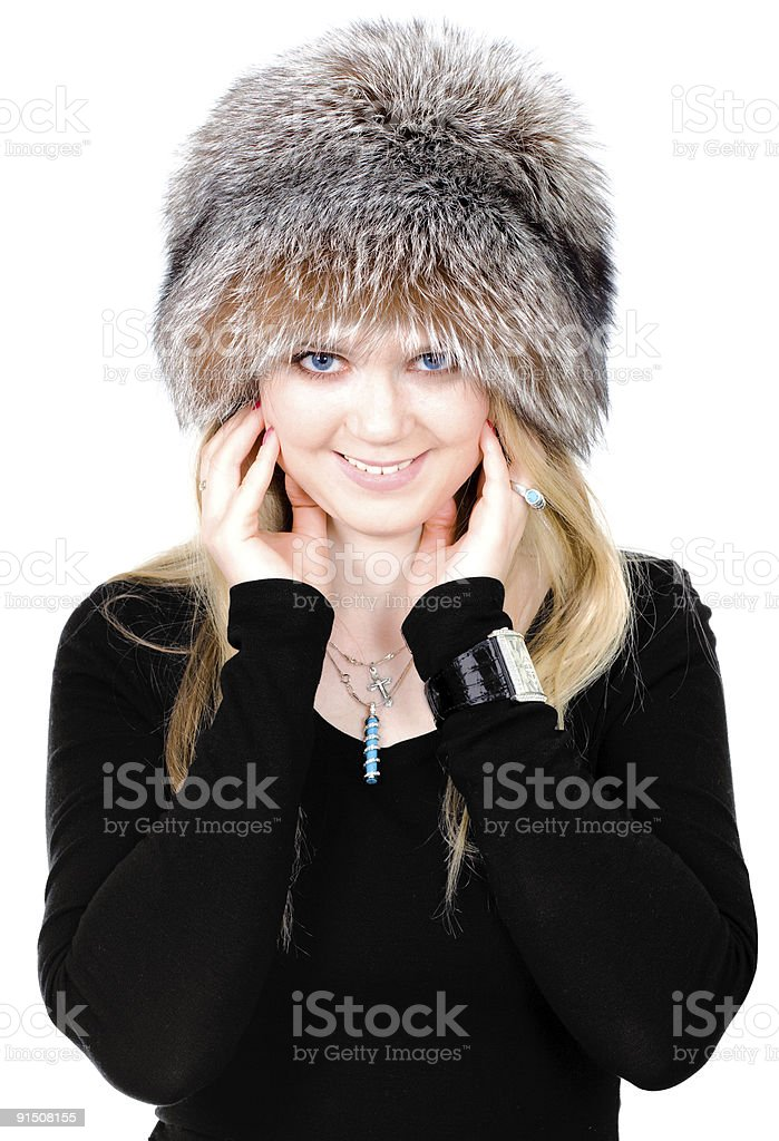 Blond Russian woman in fur hat royalty-free stock photo