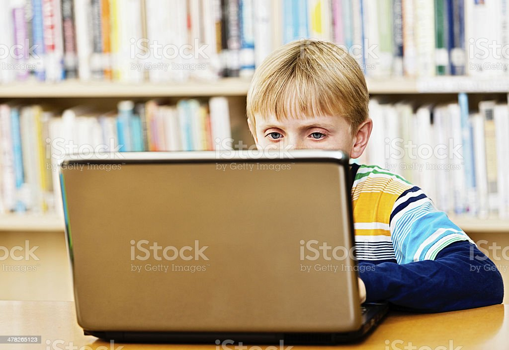 Blond schoolboy concentrating on laptop in library stock photo