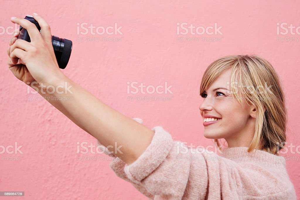 Blond selfie stock photo