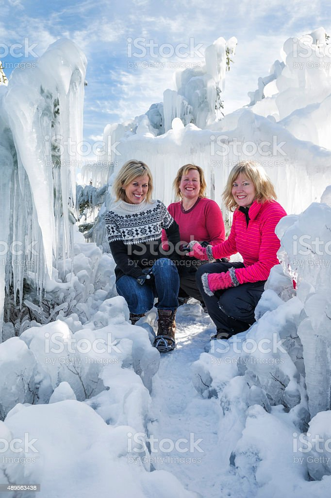 Blond sisters in a frozen fairyland stock photo