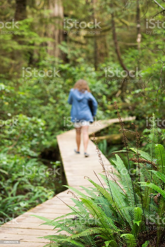 Blond teenage girl walking in rainforest to Long Beach stock photo