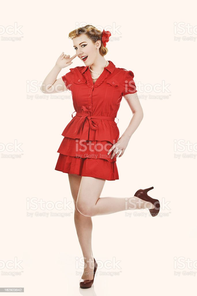 Blond Vintage Style Pin up Girl royalty-free stock photo