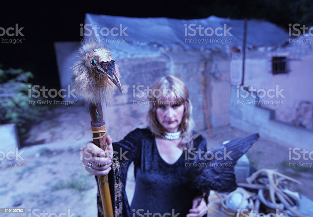 Blond Witch with Crow Wings stock photo