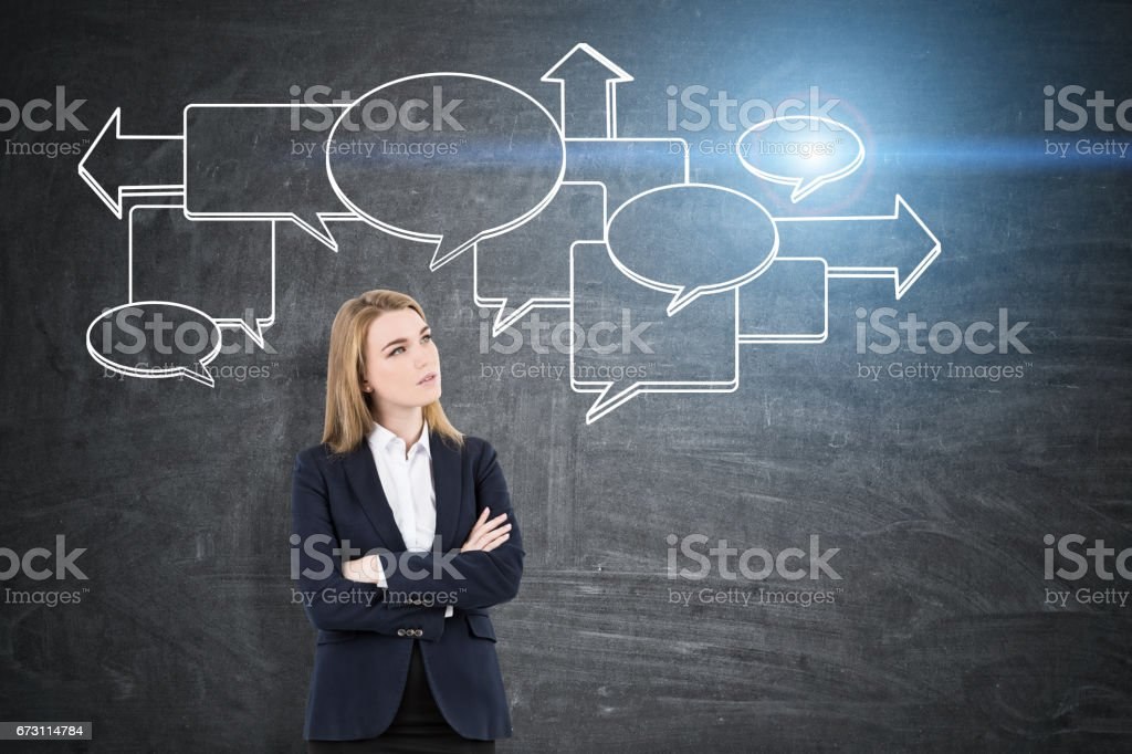 Blond woman and speech bubbles, blackboard stock photo