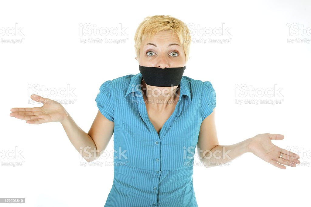 blond woman censored stock photo