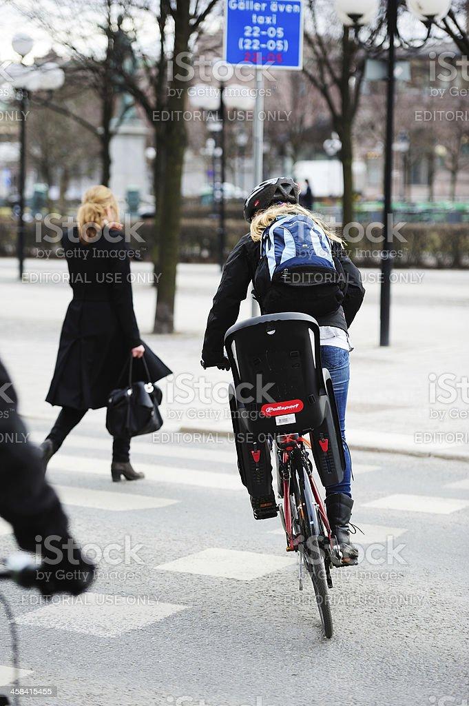blond woman environment friendly bike stock photo