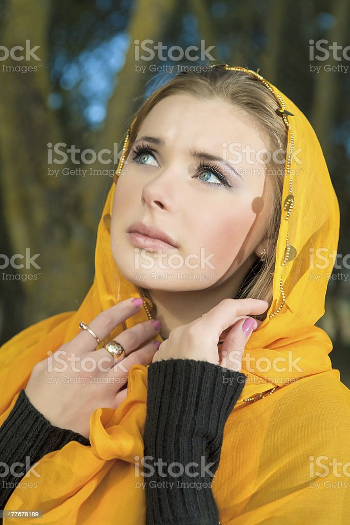 Blond Woman in Kerchief royalty-free stock photo
