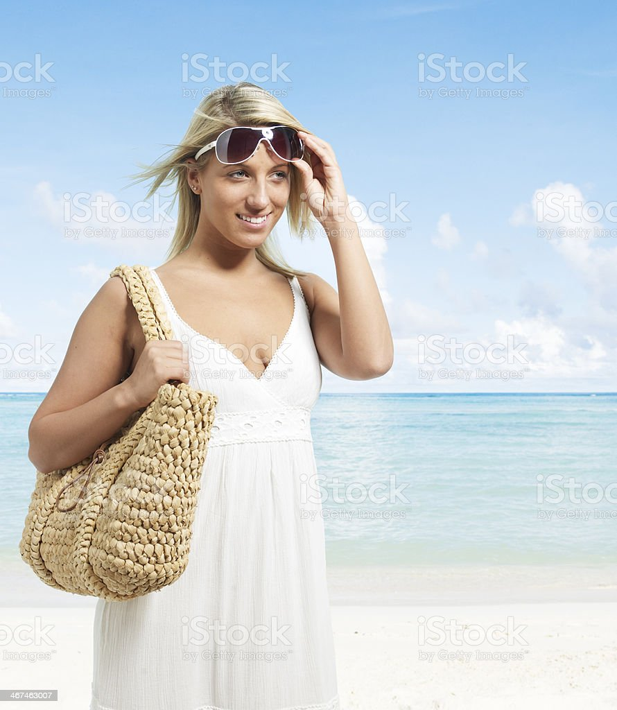 Blond Woman on Beach royalty-free stock photo