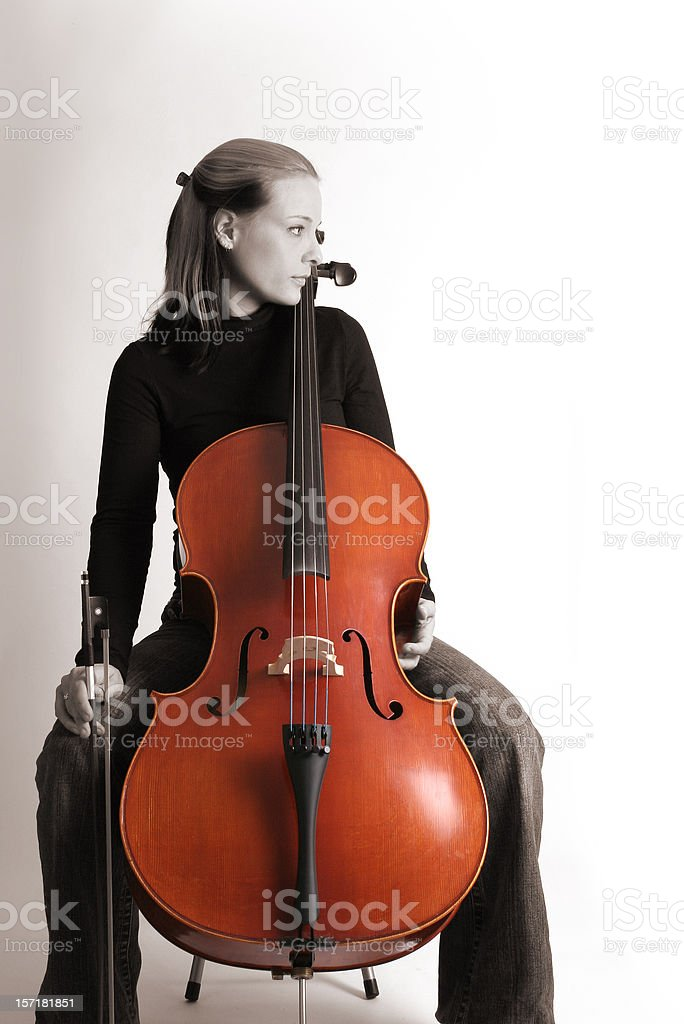 Blond woman playing cello (cellist) stock photo