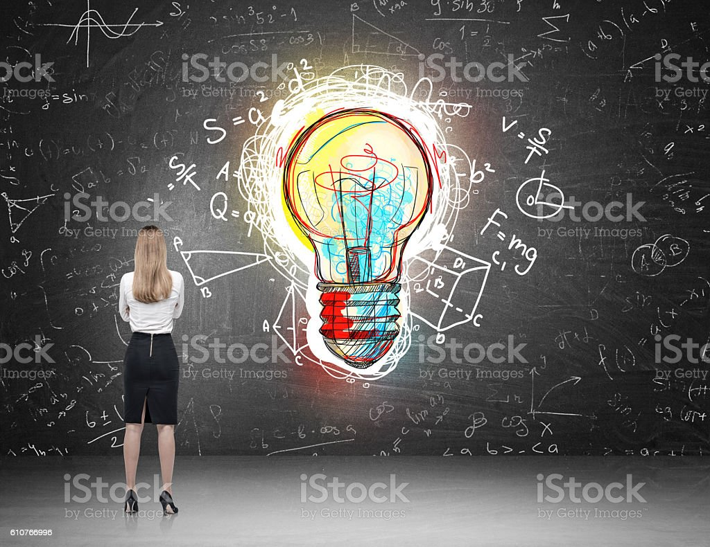 Blond woman scientist stock photo