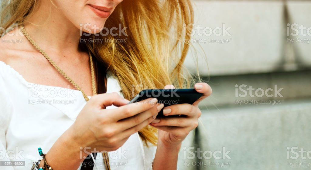 Blond Woman Surfing Internet Concept stock photo