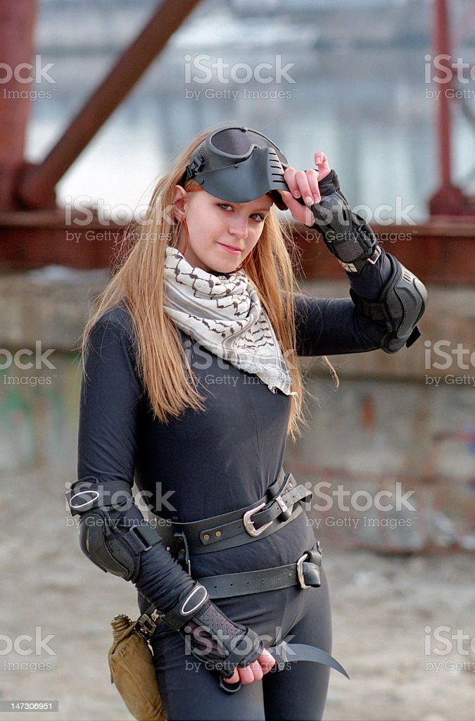 blond woman warrior royalty-free stock photo