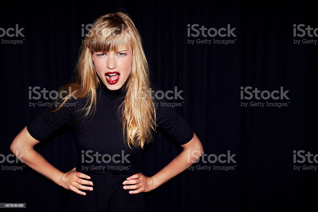 Blond woman with attitude stock photo