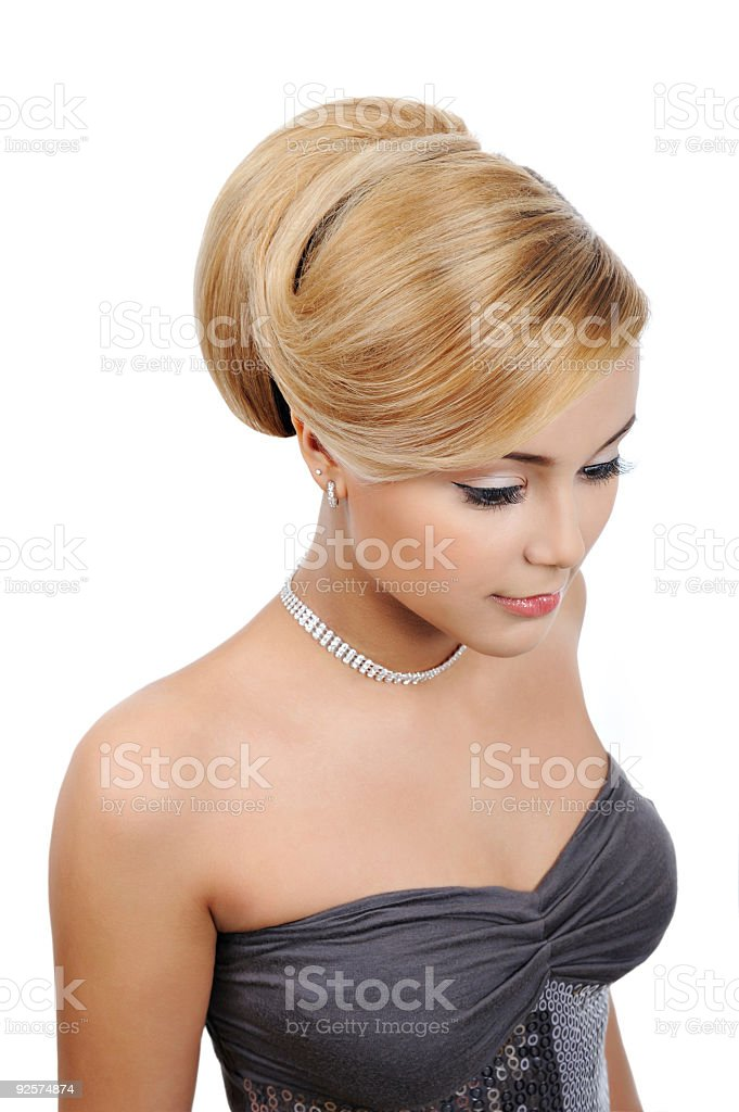 blond  woman with modern gloss hairstyle royalty-free stock photo