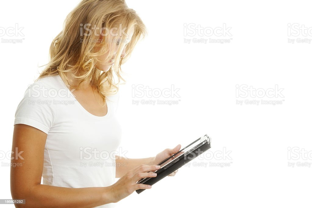 Blond woman with tablet royalty-free stock photo