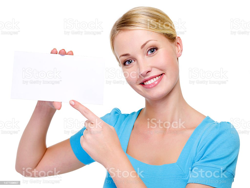 BLond woman with white card royalty-free stock photo