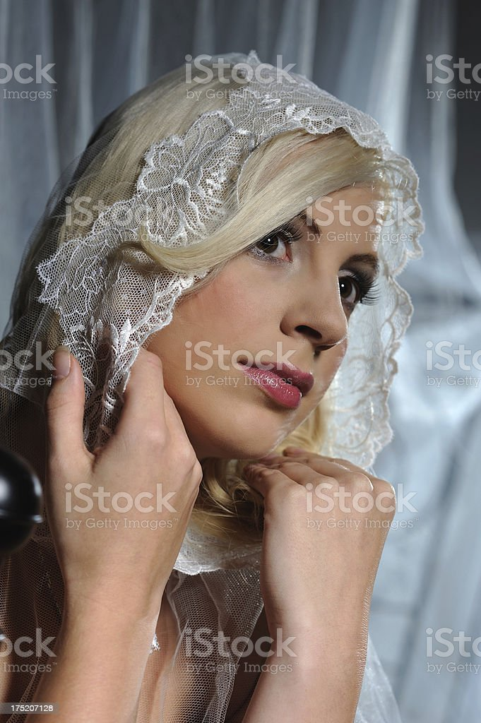 Blond young Girl with Bonnet royalty-free stock photo