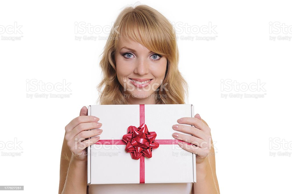 blonde and a gift box royalty-free stock photo