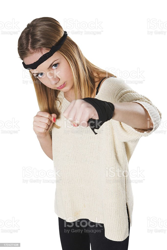 Blonde and Cute Little Fighter Girl with Taped Hand royalty-free stock photo