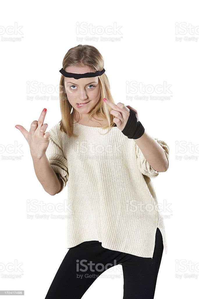 Blonde and Cute Little Girl Showing Middle Fingers royalty-free stock photo