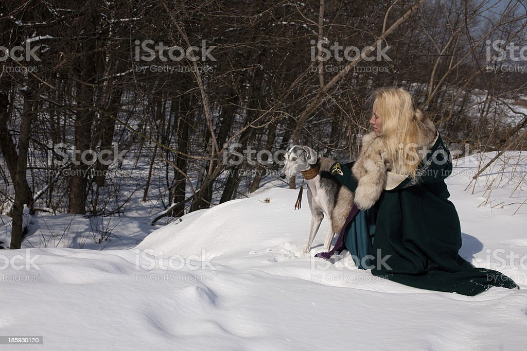 Blonde and saluki royalty-free stock photo